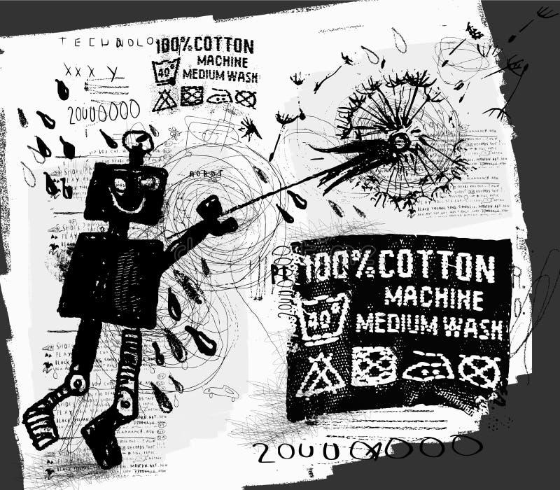 Robot avec le pissenlit illustration stock