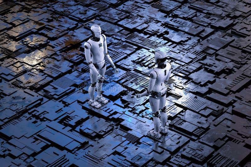 Robot avec le plancher en métal illustration stock