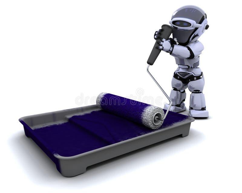 Robot avec le plateau de rouleau et de peinture illustration libre de droits