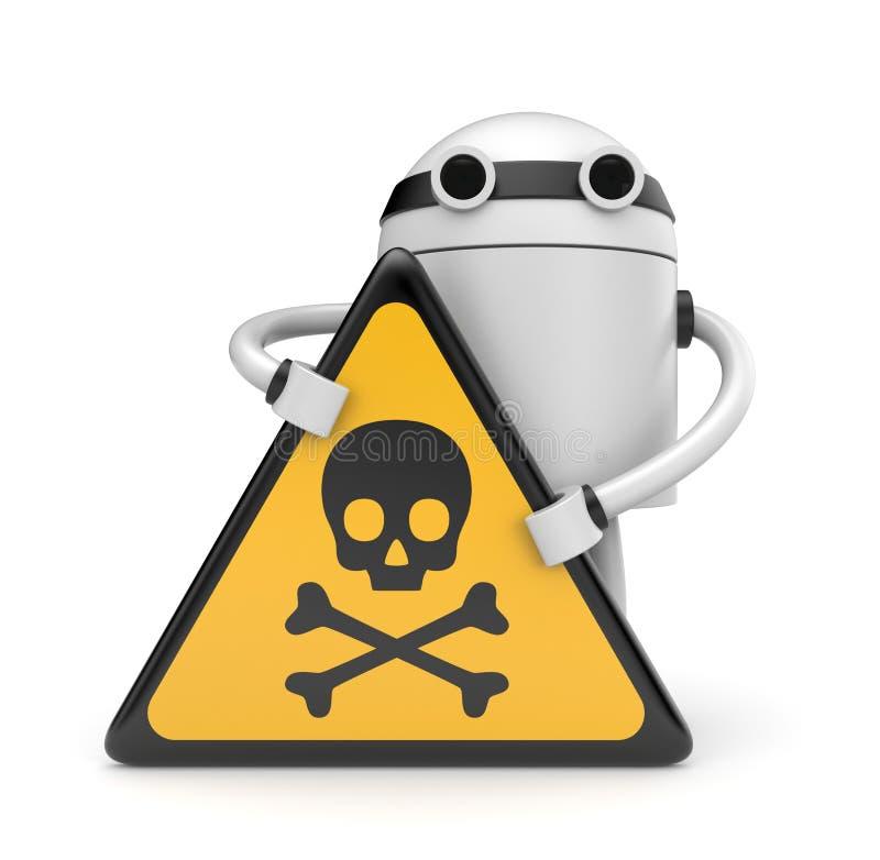 Robot avec le signe de crâne de danger illustration stock