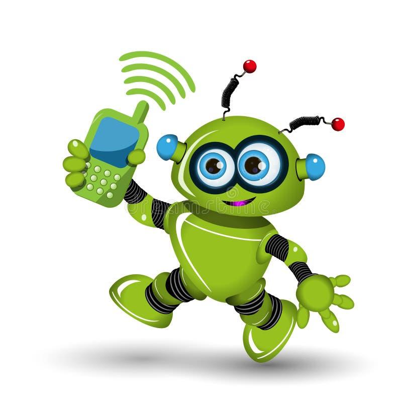 Robot avec le téléphone illustration de vecteur