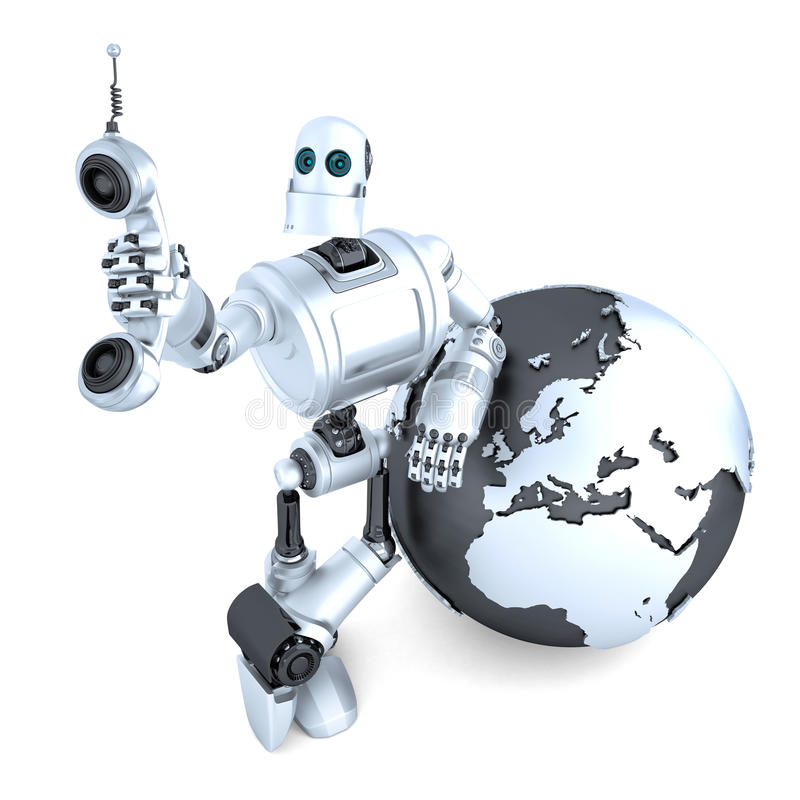 Robot avec le tube de téléphone de comprimé et le globe de la terre la rampe de concept de transmission globale plus de mon voien illustration stock