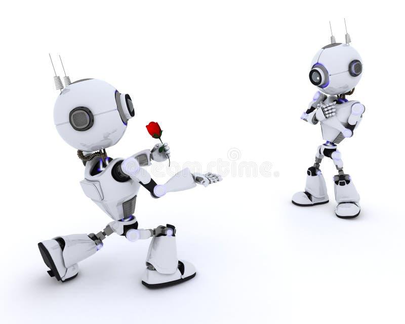 Robot avec Rose illustration stock