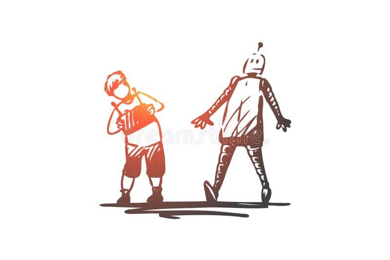 Robot barn, lek som är avlägsen, kontrollbegrepp Hand dragen isolerad vektor stock illustrationer