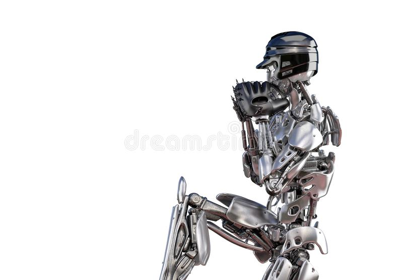 Robot baseball player in action, isolated. Cyborg robot artificial intelligence technology concept. 3D illustration stock illustration