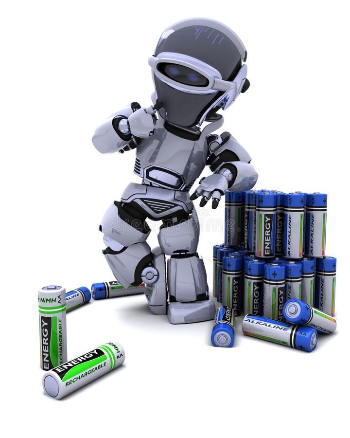 Download Robot with batteries stock illustration. Image of render - 18059549