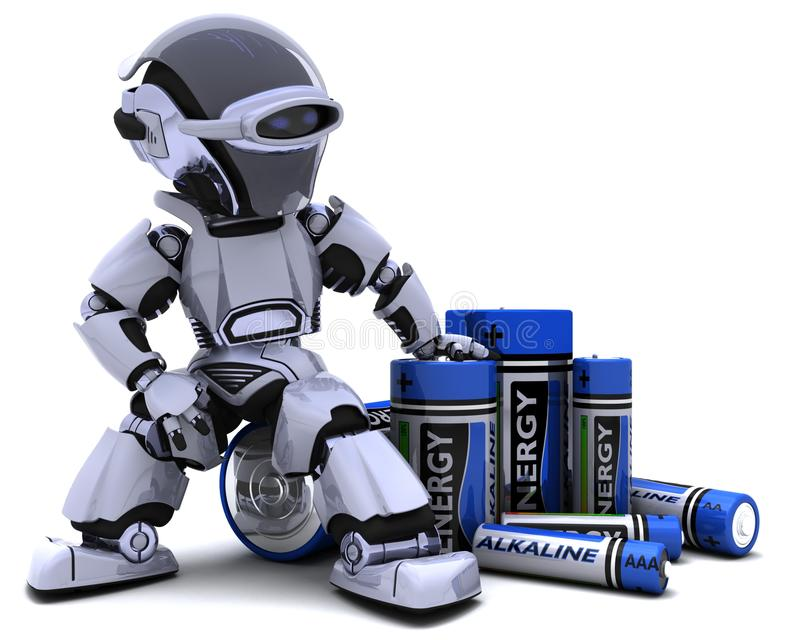 Robot with Batteries royalty free illustration