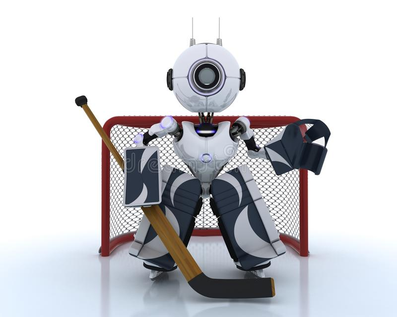 Robot bawić się lodowego hokeja royalty ilustracja