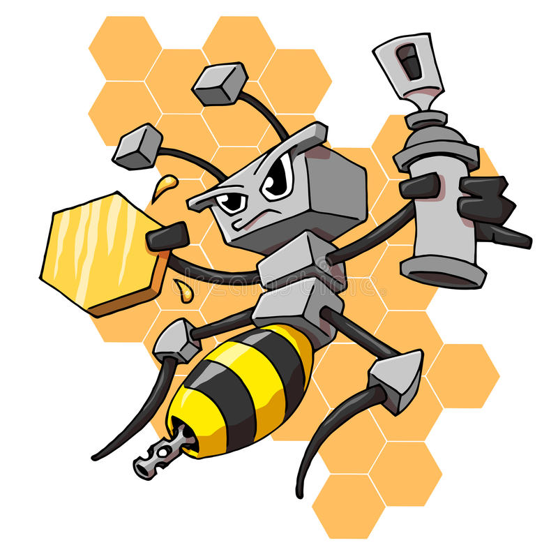 Robot bee. With honey and spray paint royalty free illustration