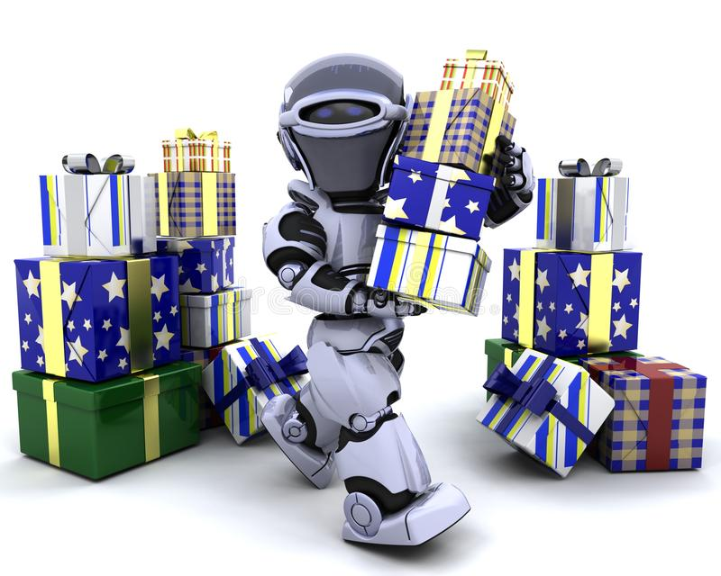 Robot with big stack of gifts vector illustration