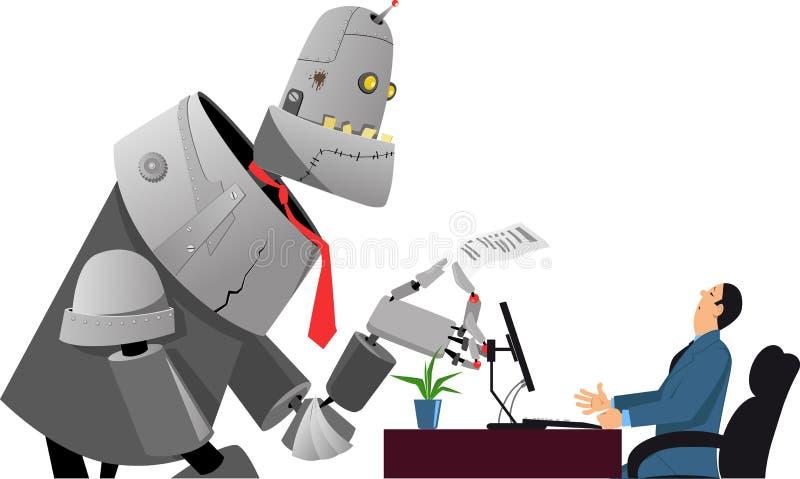 Robot bij baangesprek royalty-vrije illustratie