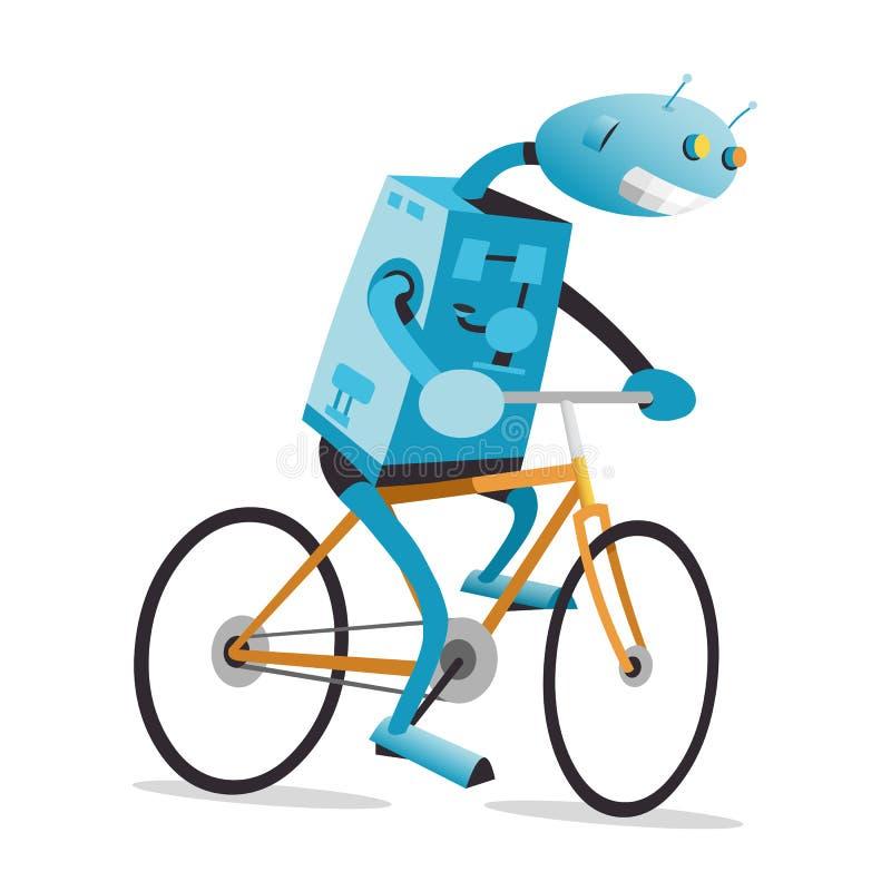 Robot on a bike stock illustration