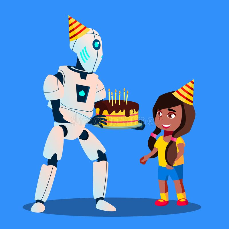 Robot With Birthday Cake In Hands At Celebration Vector. Isolated Illustration royalty free illustration