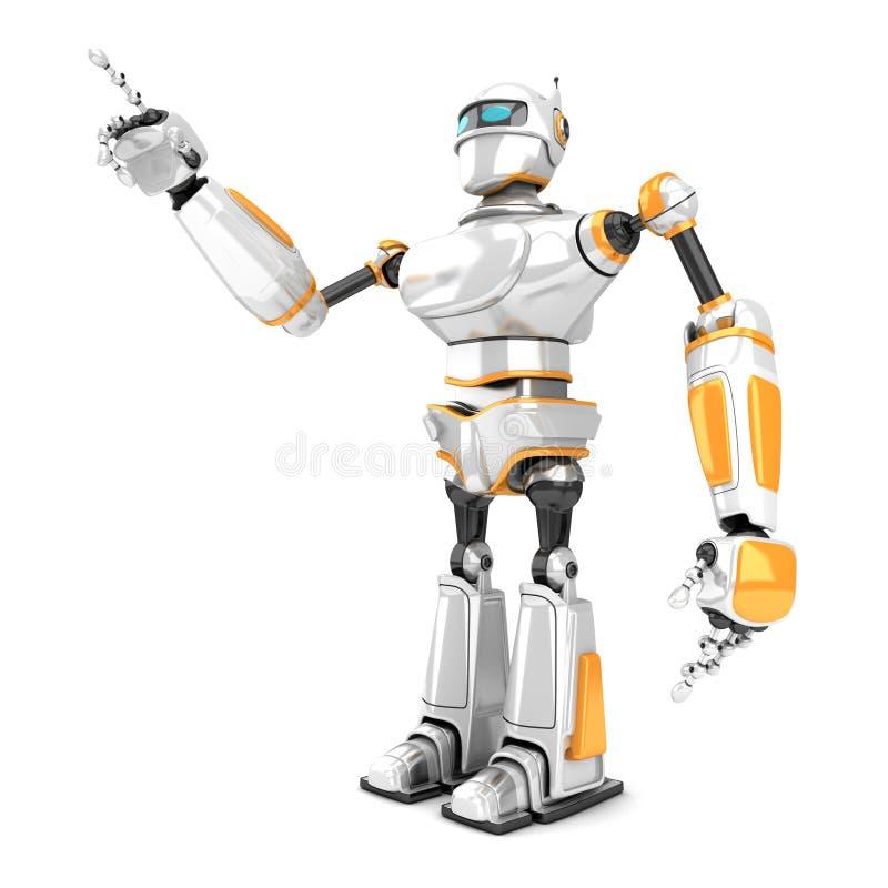 Robot blanc futuriste dirigeant le doigt illustration libre de droits