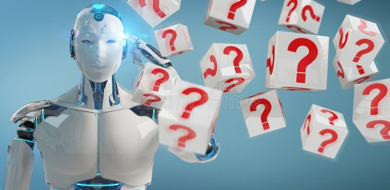 Robot blanc utilisant le rendu numérique des points d'interrogation 3D illustration stock