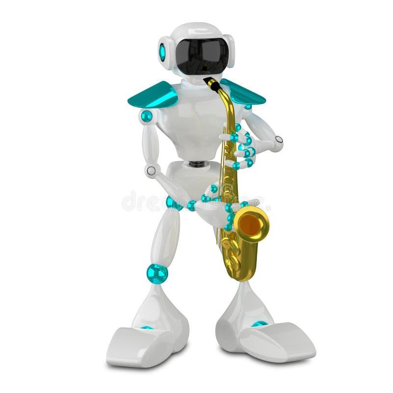 robot blanco del ejemplo 3D con el saxofón stock de ilustración