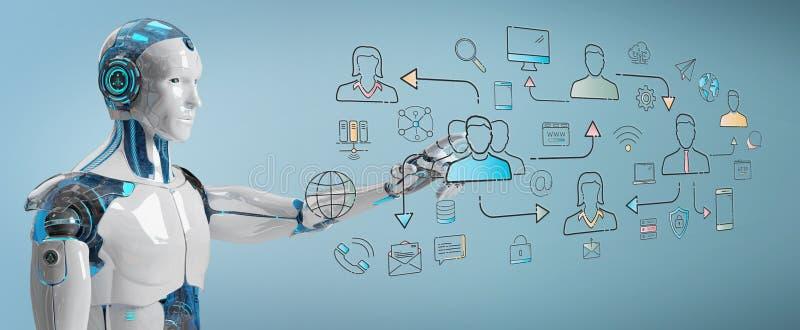 Robot blanco que controla el interfaz social de los iconos de la red ilustración del vector