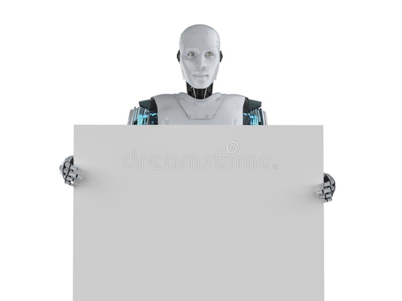 Robot with blank board vector illustration
