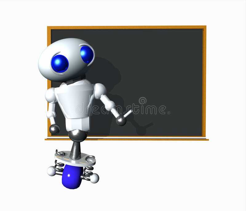 Robot With Blank Chalkboard. Cute little robot using a blackboard. Blank space suitable for your message vector illustration