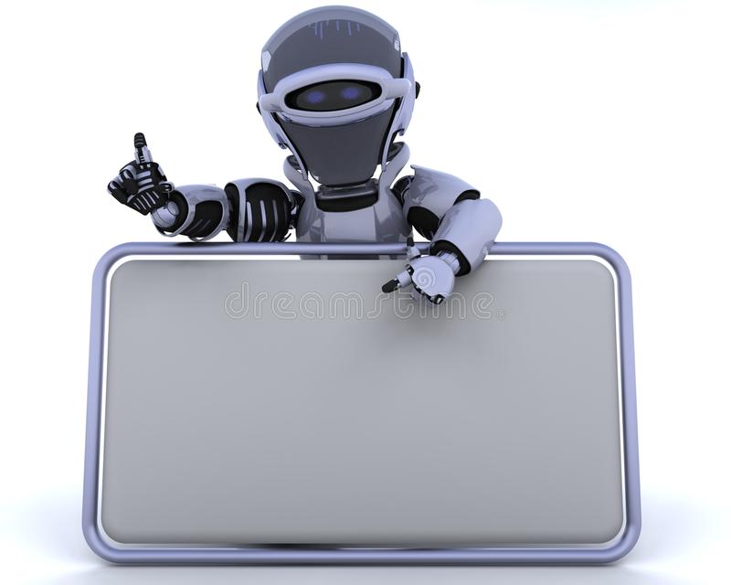 Robot and blank sign. 3D render of a robot and blank sign vector illustration
