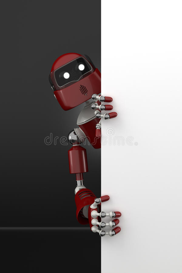 Download Robot with a blank sign stock illustration. Illustration of three - 31955490