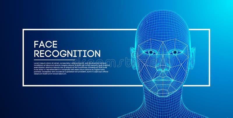 Robot blauwe ogen androïde met gedetailleerde iris en leerling Gezichtserkenningsconcept met sensor en gezichtsidentiteit 3d vector illustratie