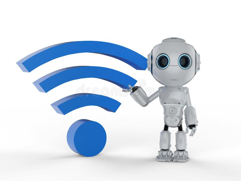 Robot with blue wi-fi stock illustration