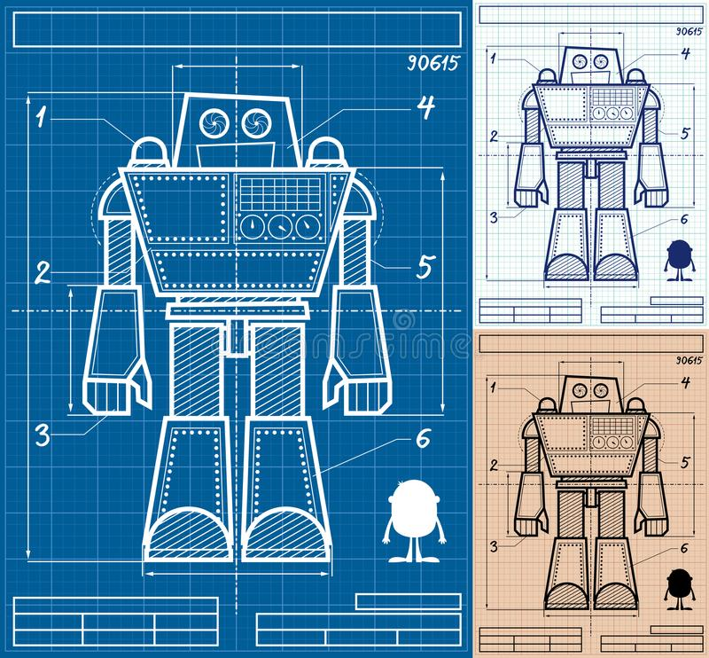 Robot blueprint cartoon stock vector illustration of plan 100489619 cartoon blueprint of giant robot in 3 versions malvernweather Images