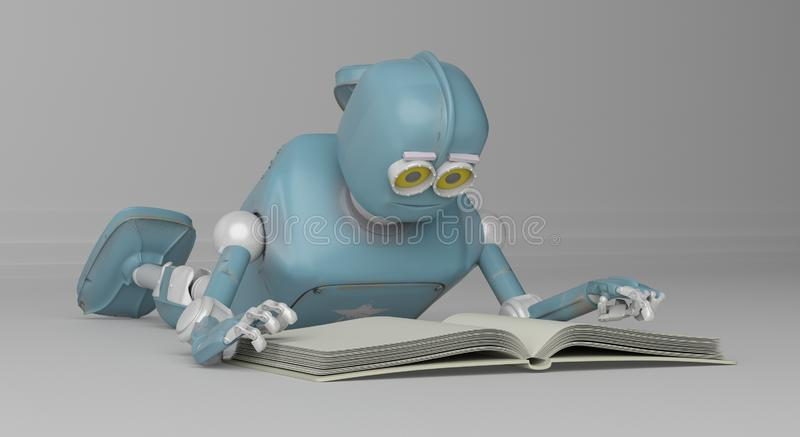 Robot with book,3d render. royalty free illustration