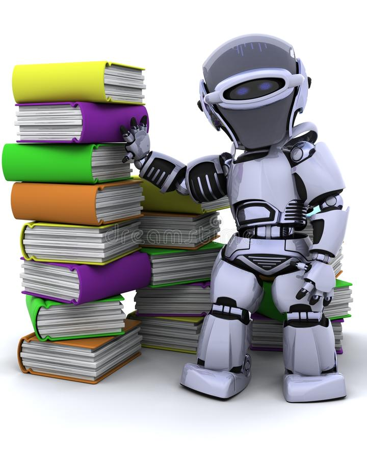 Robot with books royalty free illustration