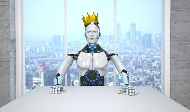 Robot Boss King stock de ilustración