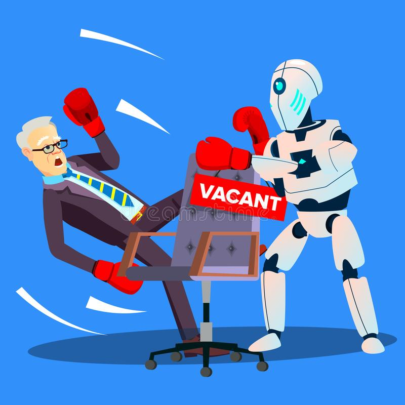 Robot Boxing With Businessman For Vacant Place At Work, HR Concept Vector. Isolated Illustration royalty free illustration