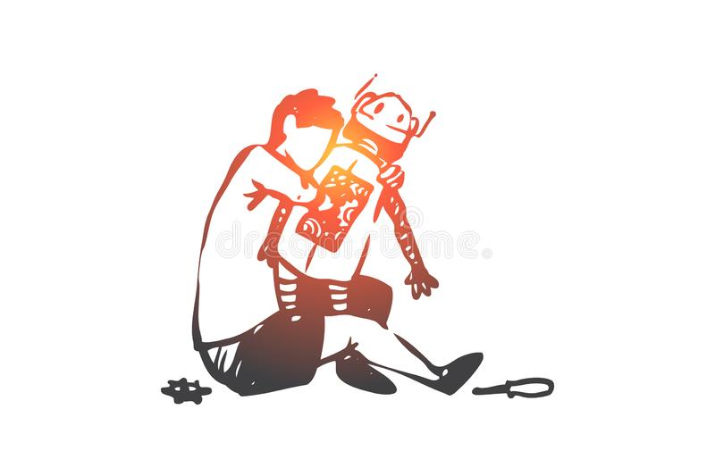 Robot, boy, play, mechanical, innovation concept. Hand drawn isolated vector. royalty free illustration