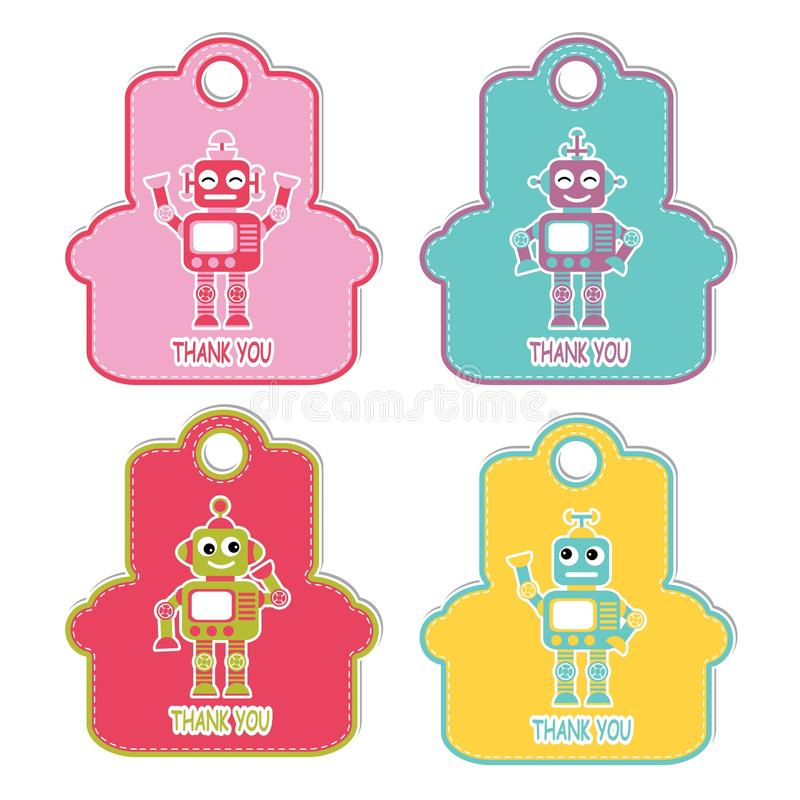 Robot boys on colorful frame character suitable for birthday gift tag stock illustration