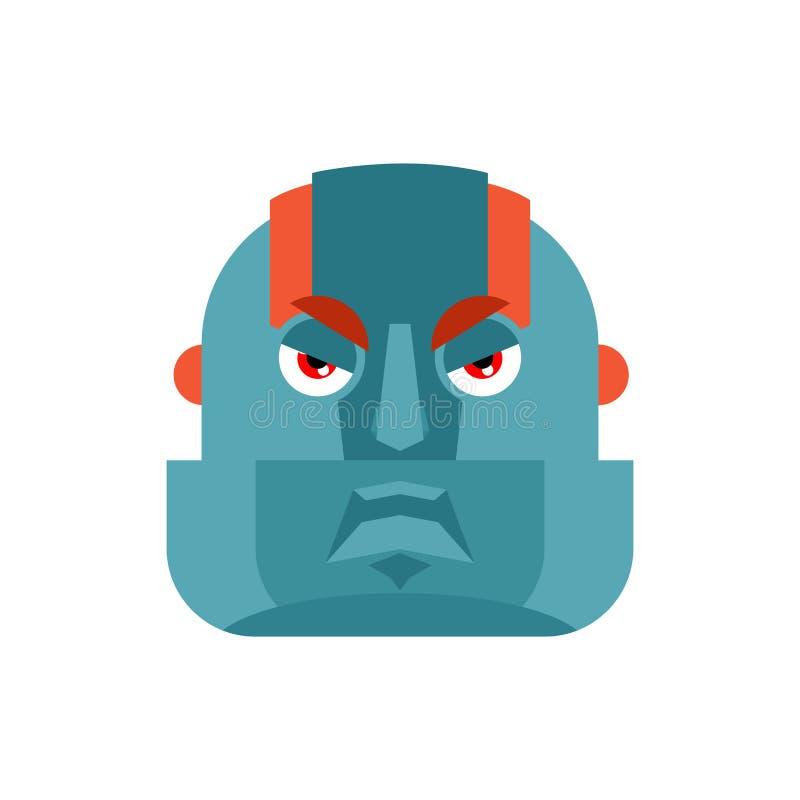 Robot boze emoji Avatar van Cyborg kwade emoties Robotachtige mens aggr vector illustratie
