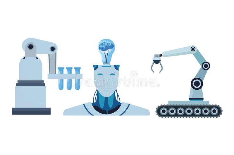 Robot with brain and robotic arms vector illustration