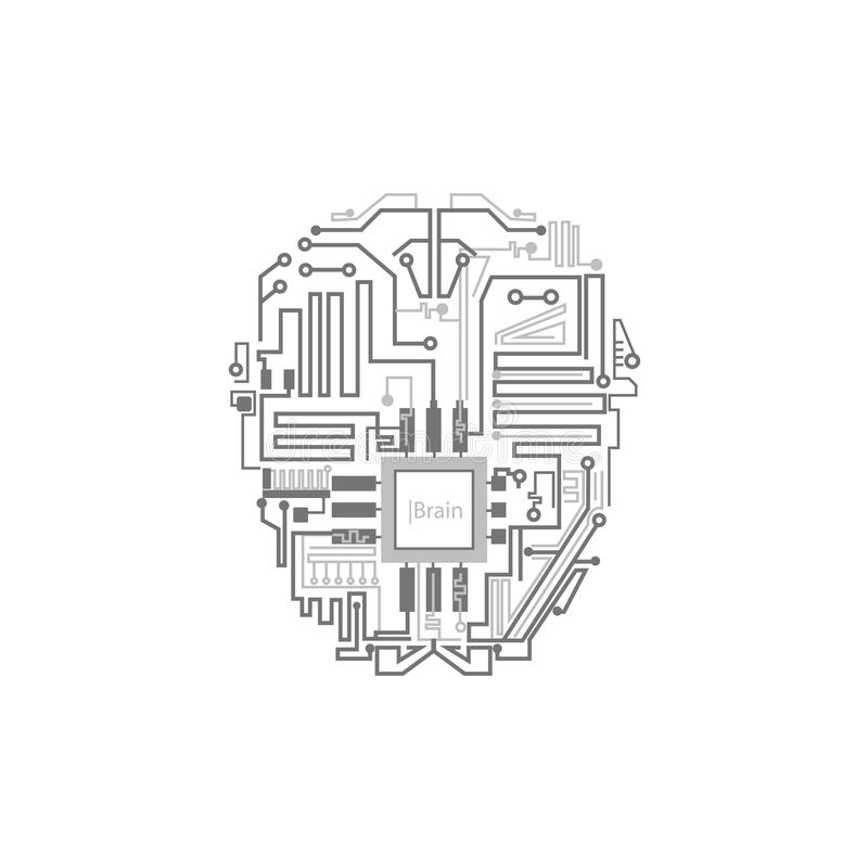 Robot brain shown as digital circuit scheme royalty free illustration