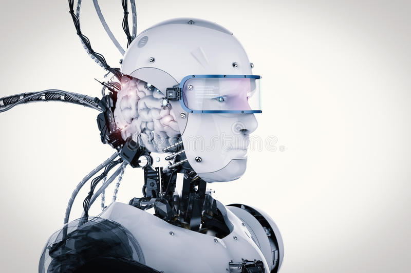 Robot with brain and wires stock illustration. Illustration of ...