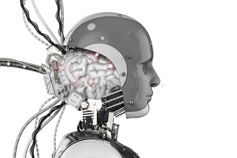 Robot with brain and wires stock photos