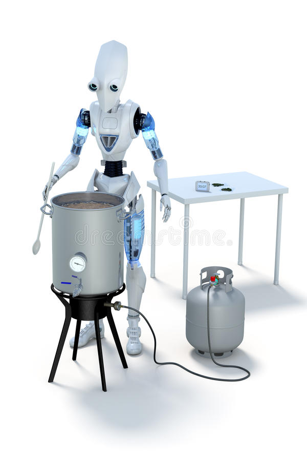 Robot Brewing Beer royalty free stock photos