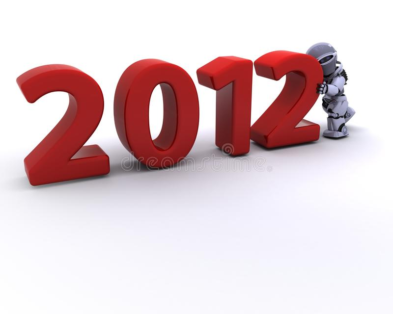 Download Robot Bringing The New Year In Stock Illustration - Illustration: 22178445