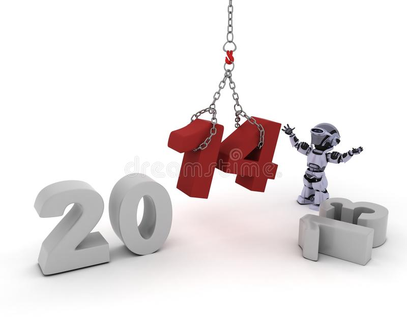 Download Robot Bringing In The New Year Stock Illustration - Illustration of cyborg, happy: 33981899