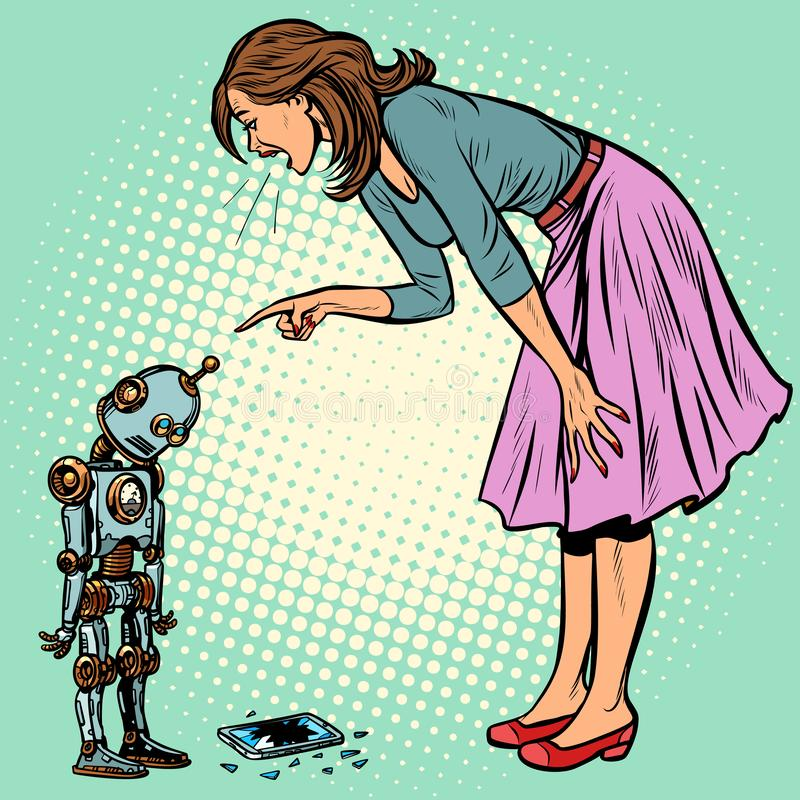 Robot broke the phone. Woman scolds guilty royalty free illustration
