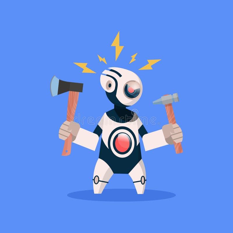 Robot Broken Hold Hammer On Blue Background Concept Modern Artificial Intelligence Technology. Flat Vector Illustration royalty free illustration
