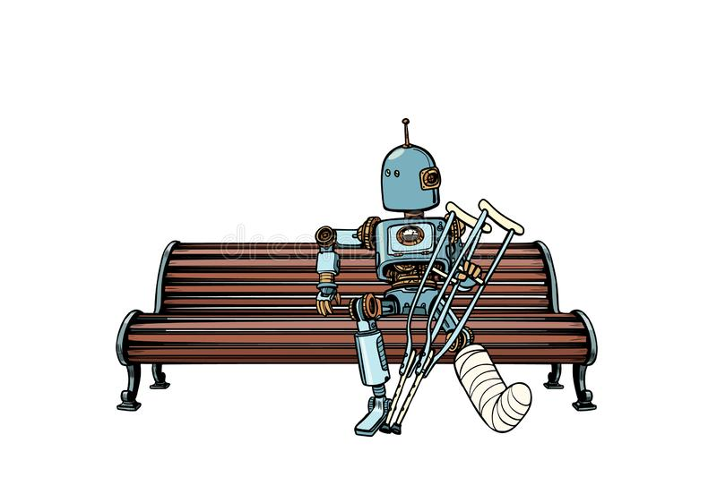 Robot with broken leg in plaster, rest in the Park. Pop art retro vector illustration kitsch vintage royalty free illustration
