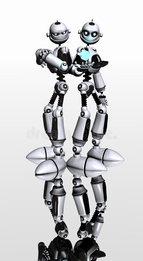 Robot brothers stock photography
