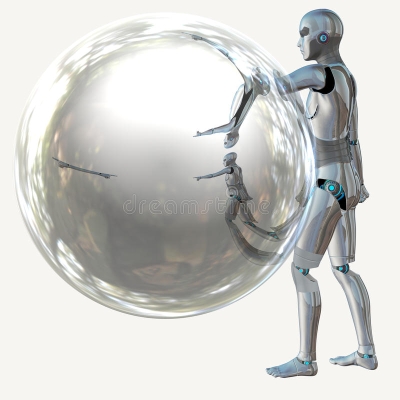 Robot with bubble royalty free illustration