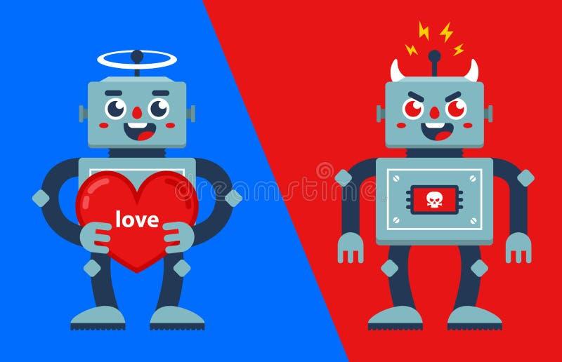 Robot bueno y malo Ángel y demonio ilustración del vector