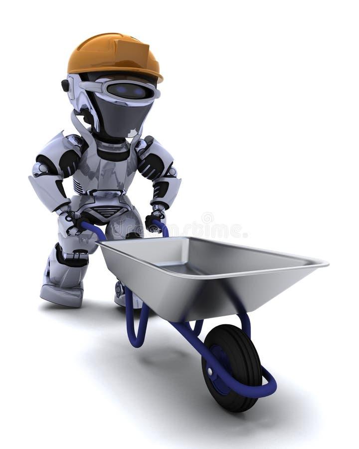 Robot Builder with a wheel barrow vector illustration