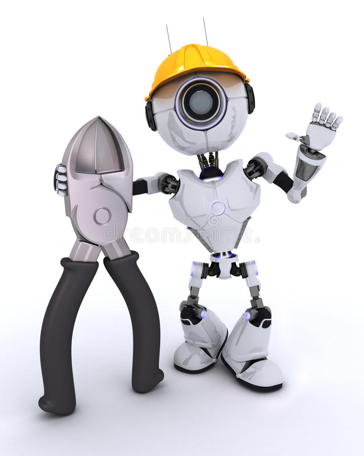 Robot Builder With Wire Cutters Stock Illustration - Illustration of ...